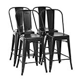 Metal Bar Stool Set of 4 Counter Height Barstool with Back 24 Inches Seat Height Industrial Bar Chairs Patio Stool Stackable Modern Kitchen Stool Indoor Outdoor Metal Bar Stool Kitchen Stools (Black)
