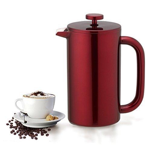 Highwin French Press – Doppelwandig isolierter Edelstahl-Kaffeemaschine, Kolben (rot)