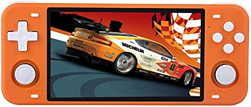 Consola Retro, Powkiddy RGB10 Max con 10000 Juegos Clásicos, Bluetooth Wifi Consola de videojuegos Chip RK3326 1.5GHz soporta PS,N64,FC, 64GB Consola de Juegos Portátil 5 Pulgadas(naranja)