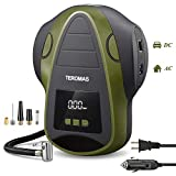 TEROMAS Tire Inflator Air Compressor, Portable DC/AC Air Pump for Car Tires 12V DC and Other Inflatables at Home 110V AC, Digital Electric Tire Pump with Pressure Gauge(Green)