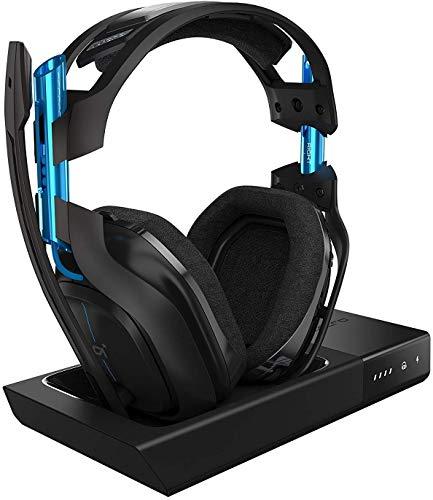 ASTRO A50 Wireless Gaming-Headset + Basisstation, 3. Generation, 7.1 Dolby Surround Sound, 5 GHz Verbindung, 15+ Akkulaufzeit, Leichtgewicht, Robust, Mod-Kit Kompatibe, PC/Mac/PS4 - schwarz/blau
