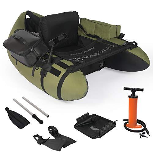 YILI Inflatable Fishing Float Tube, Floation Pontoon Boat Set with Oar, Inflate Seat & backrest,Step...