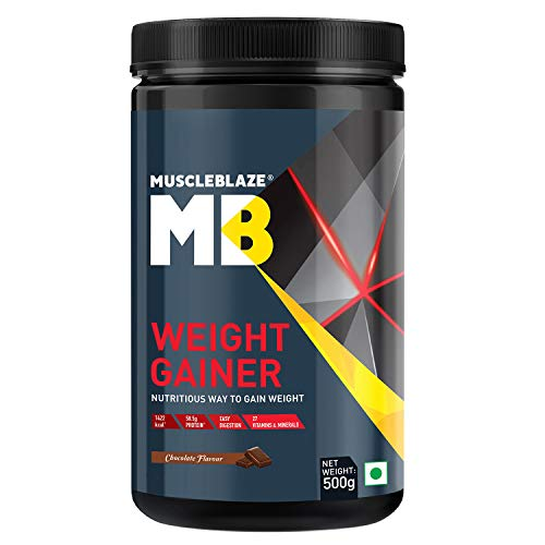 MuscleBlaze Weight Gainer with Added Digezyme (Chocolate, 500 g / 1.1 lb, 5 Servings