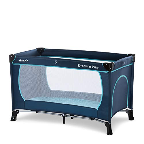 Hauck Kinderreisebett Dream N Play Plus, inkl. Hauck Reisebettmatratze, tragbar und klappbar, 120 x 60 cm, blau