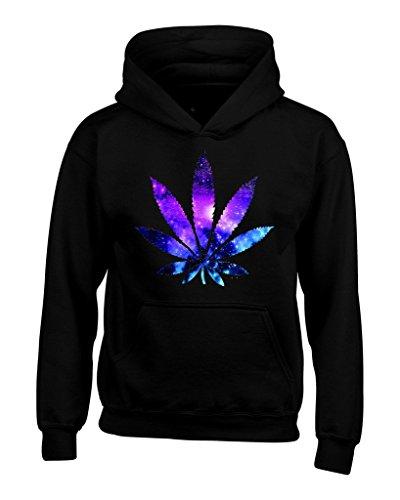 Shop4Ever Marijuana Leaf Galaxy Hoodie Weed Smokers Hoodies Large Black