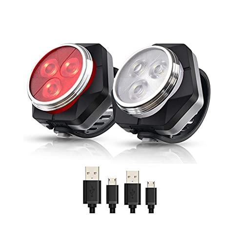Hually Luci per Bicicletta, Luci Bici 800mAh USB Ricaricabile Impermeabile LED Faro e Fanale Posteriore,4 modalit, Batterie Inclusive,2 Cavi USB Incluso