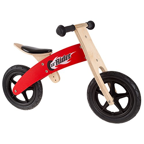 Lil Rider Wooden Balance Bike Ride On with Easy Grip Handles, Rubber Wheels and No Pedals to Learn Balance and Coordination- For Boys and Girls.