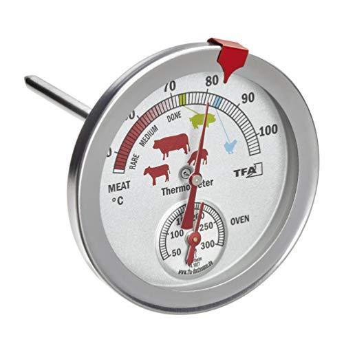 TFA Dostmann 14.1027 - Termometro analogico da forno, in acciaio inox, resistente al calore, con diversi livelli di cottura, per misurare la temperatura centrale, colore: argento