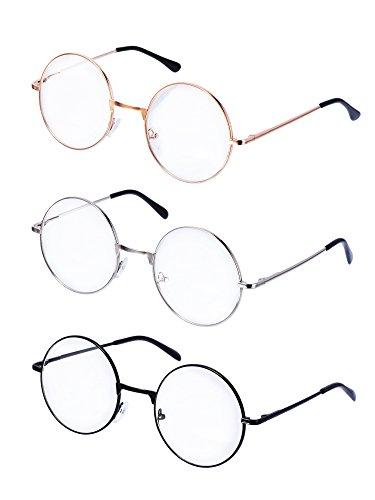 Metall Frame Runde Brille Retro Metall Klare Linse Brille, Unisex, Schwarz, Golden, Silbern Farbe, 3 Paar