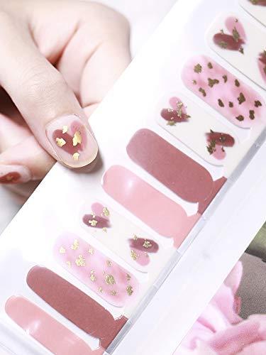 Beetle Studio 2021 Latest 22PCS Adhesion Nail Art Transfer Decals Sticker French Gradient Glitter Series DIY Nail Polish Strips ,Nail Wraps, 100% Real Nail Polish Applique for Manicure,Nail Decals ,Nail Decor,Y236-Girl Pink