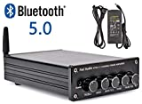 BT30C Bluetooth 5.0 Stereo Amplifier 2.1 Channel Class D Audio Power Receiver Amp with Bass Treble Volume Subwoofer Frequency Control 2x50W Speaker Output 1x100W Sub Output (with Power Supply)