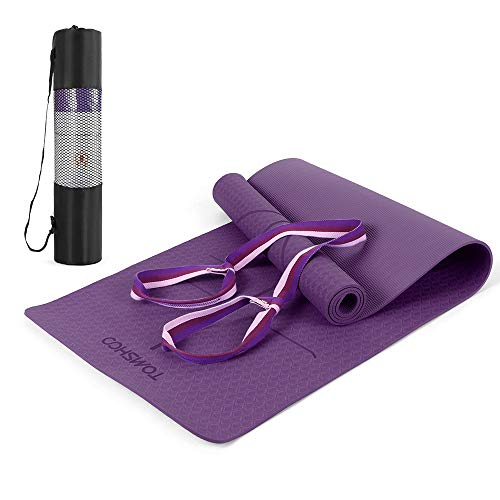 TOMSHOO Yoga Mat + Carry Strap, Gymnastic Mat Non-slip, Pro Fitness Exercise Mat TPE Skin-friendly - 183 x 61 x 0.6cm - Phthalate-free Fitness mat
