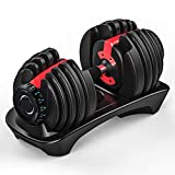 Single Fami Direct Adjustable Dumbbell, Black and Red, Professional Comprehensive Training Equipment for Home Gym, Non-Slip Handle, Premium Silicon Steel Core, Rust-Resistant, Label in KG (52.5ib)