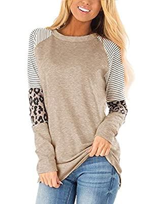 Material:65% Polyester+35% Cotton,The Cute Shirts is Soft, Lightweight, Stretchy,Relaxed and Comfortable to Wear. Features:Color Block Shirts,Stripe,Long Sleeve Tunic,Round Neck.This causal loose Tops Great to wear with Skinny Jeans,Leggings,Boots or...