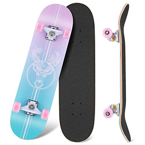 WeSkate Beginner Skateboards for Teens 31x8 Complete Standard Skateboard for Girls Boys, 7 Layer Canadian Maple Double Kick Concave Cruiser Trick Skate Borad for Kids Youth Adults