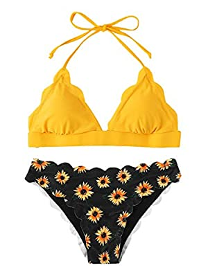 Features: Halter neck strap, backless, scalloped trim, letter print, triangle bikini top with padding bra. Before Order: Please select your size based on the measurements as below. Material: Smooth fabric bikini swimsuit sets are very stretchy,comfor...