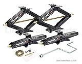 LIBRA Set of 4 5000 lb 24' RV Trailer Stabilizer Leveling Scissor Jacks w/Dual Power Drill Sockets & Complete Set of Mounting Hardware -Model# 26050
