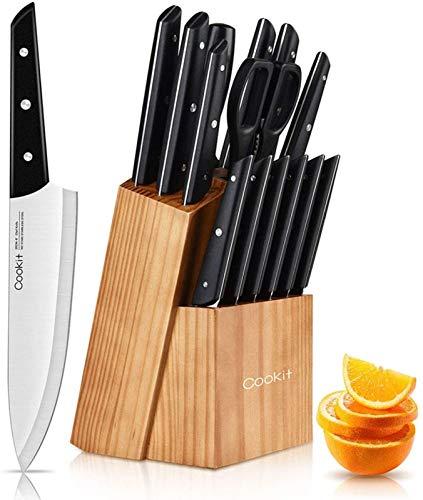 Set di coltelli da cucina con ceppo portacoltelli, 15 pezzi con affilacoltelli, coltelli da cucina in acciaio inossidabile ad alto tenore di carbonio, coltelli da bistecca seghettati, neri