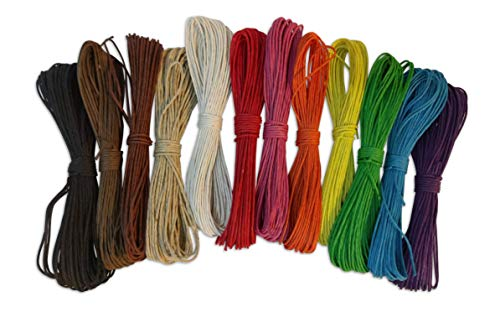 Natural Hemp Colored String Colorful 12 Variety Pack; Beautiful Twine for Arts Crafts 32ft Per Color