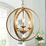 KSANA Gold Orb Chandelier Modern Globe 3 Light Fixture for Dining & Living Room, Bedroom, Foyer and Kitchen
