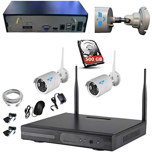 ITALIAN ALARM Kit Videosorveglianza 2 Telecamere Wireless senza fili WIFI, NVR x 4 telecamere + HDD 500GB incluso. APP Android/IOS. Portata 50 metri senza ostacoli, già configurato, assistenza ITALIA
