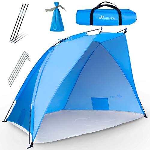 TRESKO Strandmuschel inkl. Tragetasche | Strandzelt mit UV Schutz 50+ | Kleines Packmaß | Wasserdicht und atmungsaktiv