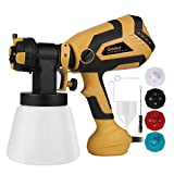 600W Paint Sprayer, Ginour 1200ml/min HVLP Electric Paint Gun with 1000ml Detachable Container, 3 Spray Patterns & 4 Nozzle Sizes & 5 PCS Filter Paper, Flow Control and Perfect for Spraying Work