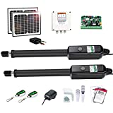 TOPENS AD5S Automatic Gate Opener Kit Medium Duty Solar Dual Gate Operator for Dual Swing Gates Up to 16 Feet or 550 Pounds Gate Motor Solar Panel
