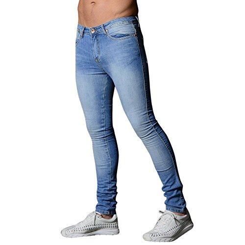 SCHOLIEBEN Jeans da Uomo, in Denim, Taglio Slim, Elasticizzati, per Uomo Bleu Clair M