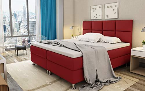 Home Collection24 GmbH Boxspringbett Bett Hotelbett Amsterdam 180 x 200 cm Designerbett Kunstleder, Farbe:Rot