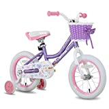 JOYSTAR 14 Inch Kids Bike for Girls with Training Wheels & Basket for 3 4 5 6 Years Kids, Child Bicycle with Basket, Children Cycling, Purple