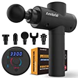 Annbrist Massage Gun Muscle Massager 600-3300 Percussion Deep Tissue Relax Stepless Speed Regulation Electric Quiet Portable Brushless Motor Digital Screen for Workout Pain Relief (Black)