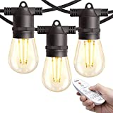 Amico 48FT LED Outdoor String Lights with Remote Dimming, LED Edison Vintage Plastic Bulbs and Weatherproof Strand - Decorative Cafe Patio Lights, Bistro Lights