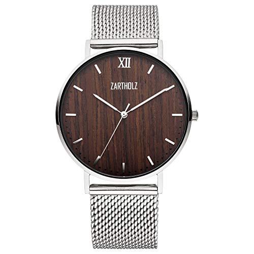 ZARTHOLZ Herren-Uhr Edelholz mit Holz Zifferblatt und Milanaise-Armband Silber