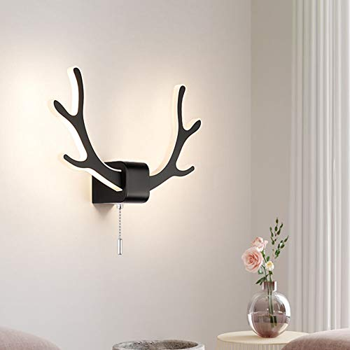 Applique Murale LED Moderne Antlers Intérieur Lampes Murale avec Interrupteur à Tirette, Applique de Chevet LED 10W Mur de Fond Éclairage pour Salon/Chambre a Coucher/Étude/Couloir,Noir,6000~6500K