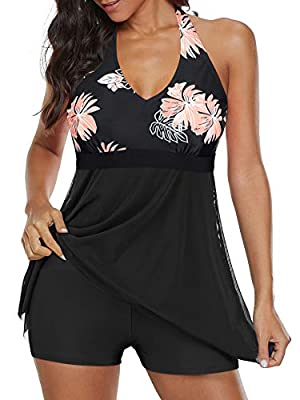 ⇒ Design - Bathing suits for women, fashionable design cover your body well flattering your curves. Comfortable and soft padded Bra & sexy mesh round V neck design, gather breast well.flowy asymmetrical skirt with unique printed pattern, show you a m...