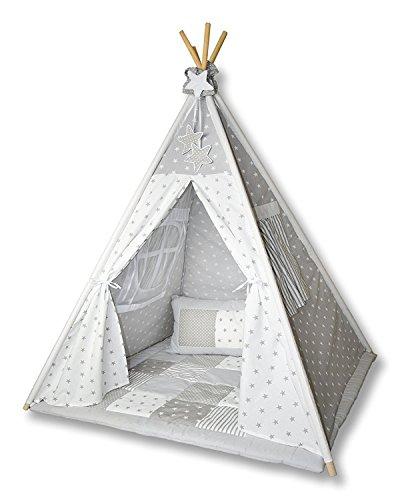 Amilian® Tipi Spielzelt Zelt für Kinder T01 (Spielzelt mit der Tipidecke und Kissen)