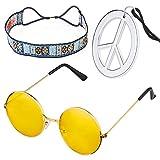 Beelittle Hippie Costume Set - Cercle Style Lunettes des années 60 Signe...