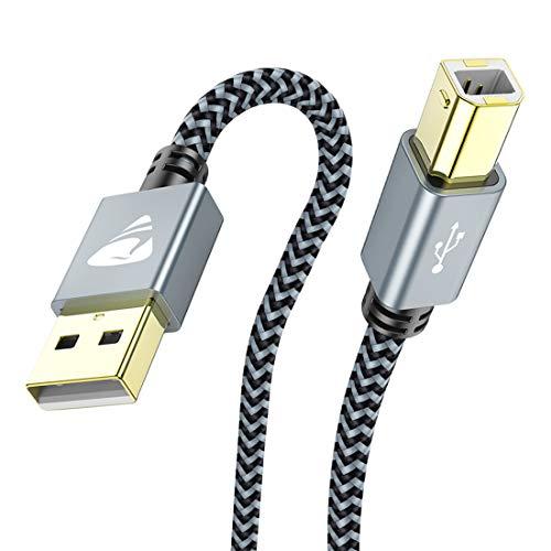 Aioneus Cavo Stampante USB 2.0, 2M Cavo USB Tipo A Maschio a Tipo B Maschio Cavetto Placcato Oro per Stampante HP, Canon, Lexmark, dell, Xerox, Samsung, Panasonic, Scanner`ECC