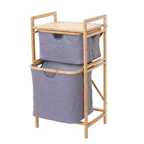 Mendler Wäschesammler HWC-B56, Regal Wäschesortierer Wäschekorb Badregal Aufbewahrung, Bambus 84x44x34cm 72l