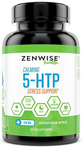 5-HTP - 100 MG With Vitamin B6 - Stress Relief Support & Mood Control - Natural Appetite Suppressant for Weight Loss - Sleep Aid Supplement & Brain Booster - 120 Vegetarian Capsules 1
