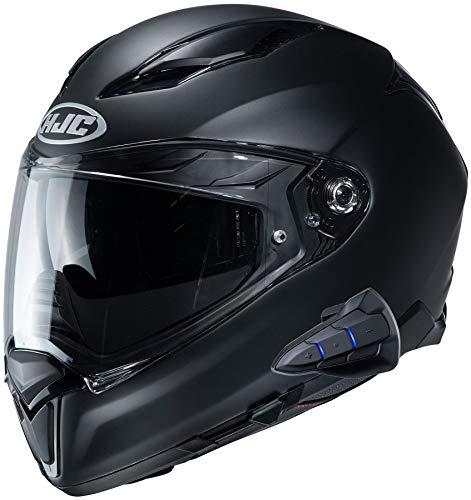 HJC F70 Full Face Motorcycle Helmet with Smart HJC 10B Bluetooth Headset Semi Flat Black Large