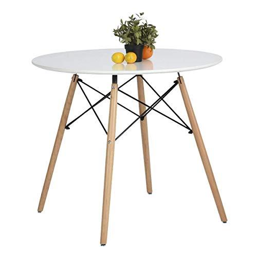 Coavas Esstisch Weiß Rund Küchentisch Modern Büro Konferenztisch Kaffeetisch, Runder Esstisch Freizeit Holz Kaffee Tee Büro, Creme Weiß
