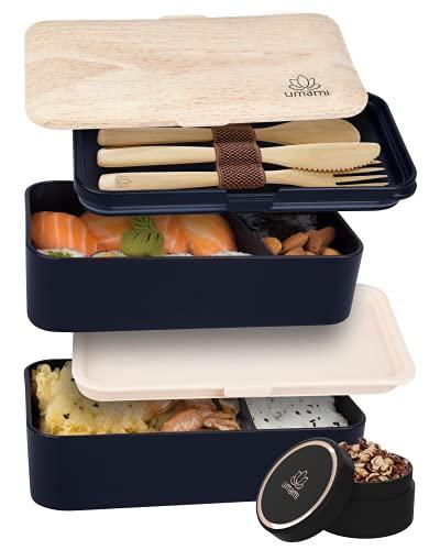 UMAMI Bento Lunch Box , 2 Recipiente 4 Cubiertos , Tupper Compartimentos Estilo Bento Box Japonés , Porta Alimentos Hermético , Microondas y Lavavajillas , Fiambrera Para Adultos/Niños , Zero Waste