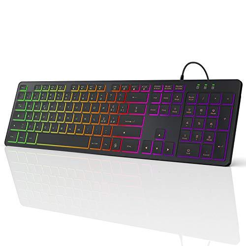 TedGem Tastiera, Tastiera Cablata USB Retroilluminata, Computer Tastiera Colorata, Laptop Tastiera, RGB Tastiera Gaming con 12 Tasti di Scelta Rapida Multimediale per Windows/Windows XP/Vista