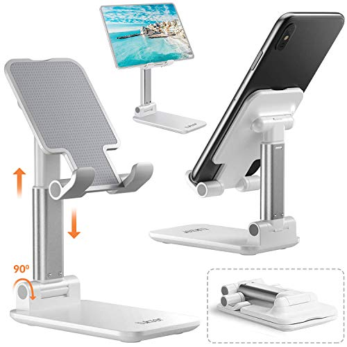 Tukzer Tablet Stand, Fully Foldable   Angle Height Adjustable   Tab & Phone Holder Stand for Desk, Cradle, Dock, Desktop Tablet Stand Compatible with Smartphones & Tablets (White)
