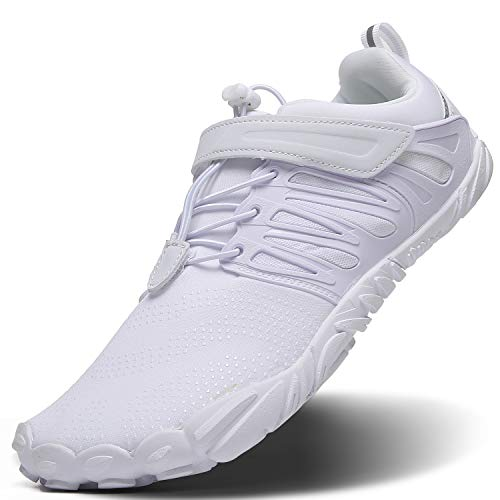 Mens Cross Training Shoes,Minimalist Trail Running Velcro Shoes Barefoot 5 Five Fingers Minimus Wide Width Toe Box For Gym Workout Walking Exercise ,Zero Drop Male Hiking Fitness,Sneakers All White,Size 10