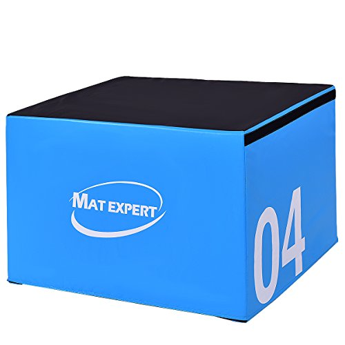 MAT EXPERT PVC Soft Foam Jumping Box Plyometric Exercise Fitness Safe Box (Blue 24' Height)