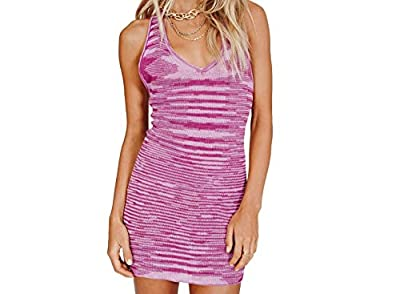 Material: High quality cotton blend fabric, knit ribbed, skin-friendly, soft touch and comfortable feeling, durable, not easy to break, high stretchy material. Design: Halter neck midi dress, tie dye printed, unique graphic patterns, open back and sl...