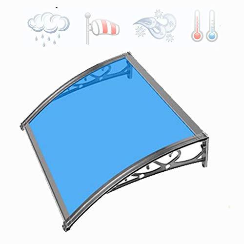 LYBC 60x100cm 100x120cm Marquesina para Puertas Tejadillo de Protección de Policarbonato Techo para Jardín Patio Balcón,Aluminio Soporte,Azul